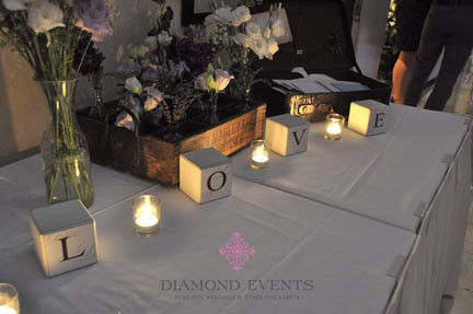 Guestbook Table with L-O-V-E blocks
