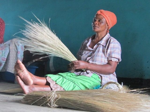 Xhosa Woman Making a Broom