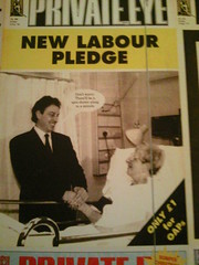 Tony Blair spin doctor Private Eye cover at Victoria & Albert Museum, London