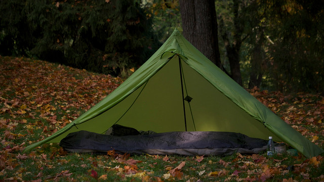 Locus Gear Khufu Sil pyramid shelter and a Mountain Laurel Designs Alpin bivy.