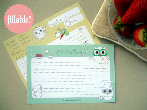 printable and fillable owl recipe card