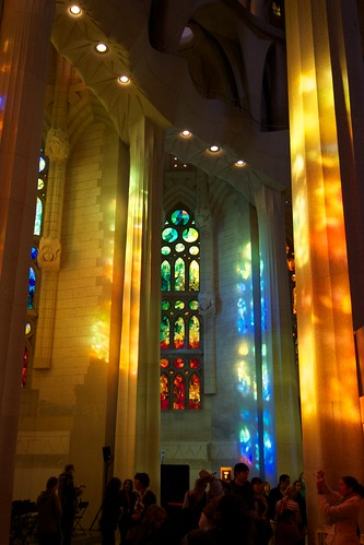 Interior of Sagrada Familia in Barcelona, Spain