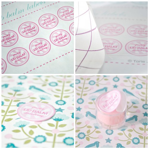 Hand-made strawberry lip balm labels- steps 1-4