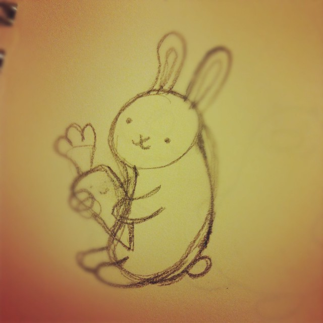 Happy Bunny and Happy Carrot drawing.
