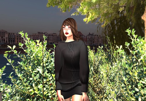 Ero Rabbi---Doman Sleeve Knitting Dress - Black (free) by Cherokeeh Asteria
