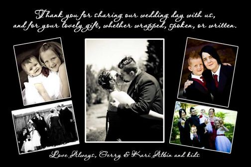 Vintage Wedding Thank You Card Photo Collage or Save the Date