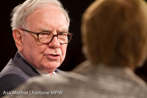 Warren Buffett of Berkshire Hathaway Inc. and interviewer Carol Loomis of Fortune
