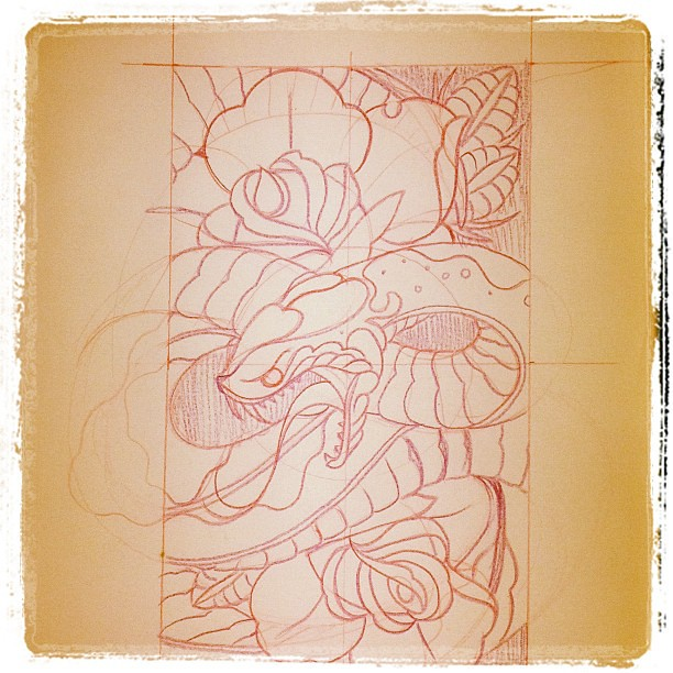 tattoo snake rose sketch traditional san diego