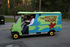 The Mystery Machine Golf Cart in the Parade