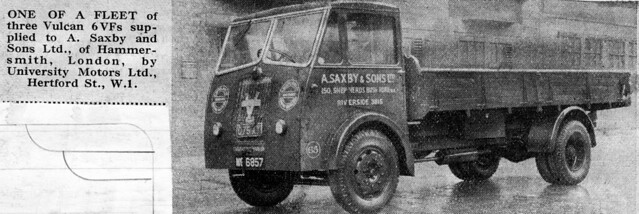 Vulcan 6VF dropside lorry Saxby and Sons of Hammersmith, London
