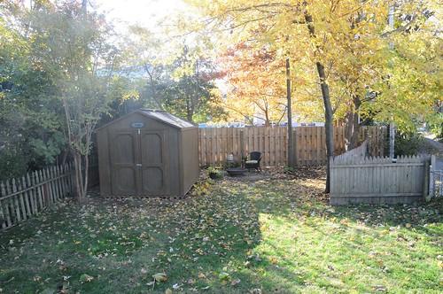 backyard, shed, fire pit