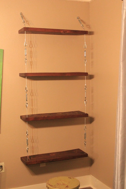 diy steel cable and turnbuckle shelves kara paslay design. Black Bedroom Furniture Sets. Home Design Ideas