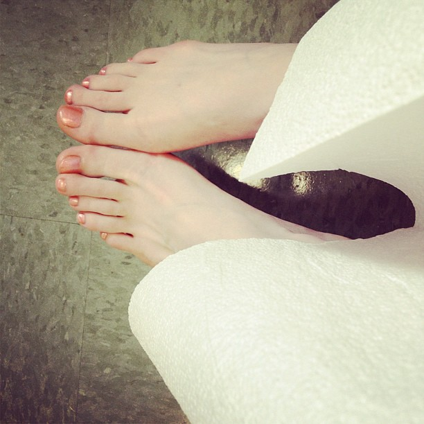 Paper gowns don't look great with my happy toes.
