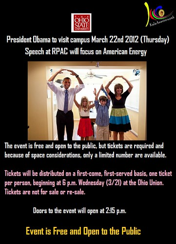 KalaAnantarupah-Ohio State University :- President Obama to visit campus Thursday / Speech at RPAC will focus on American Energy