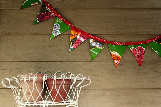 stapled oilcloth bunting