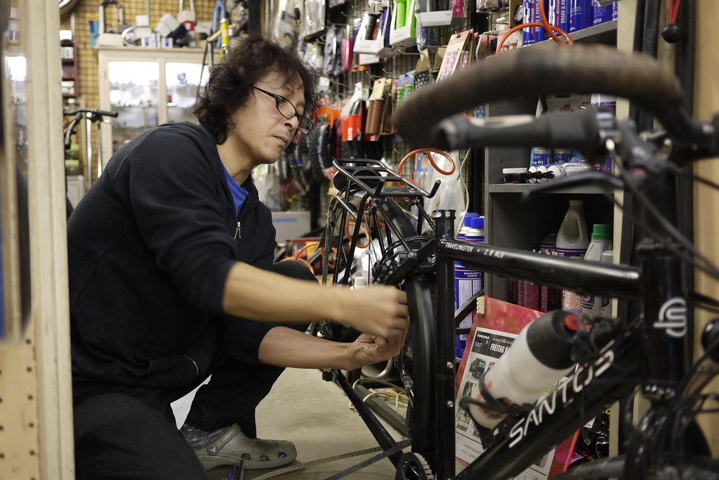 Sarah Outen's Santos touring bicycle worked on by Sam's Bike  in Sapporo, Japan