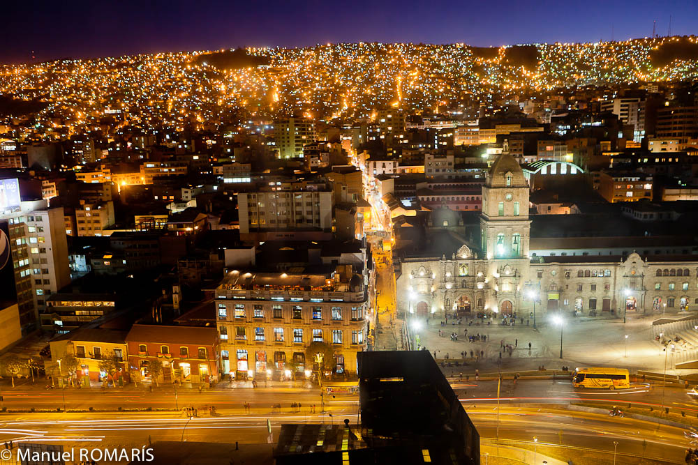 La Paz, Bolivia, at night