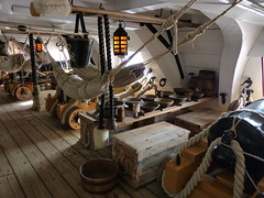 hms victory middle gundeck mess table and hammocks