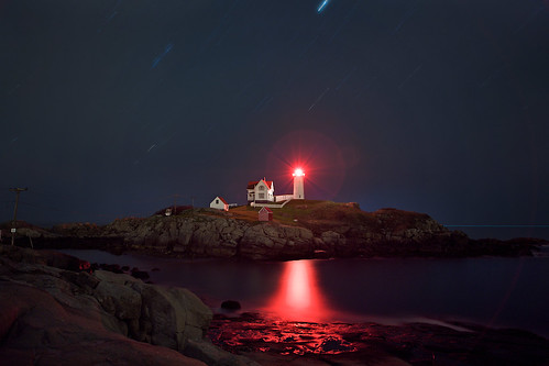 In a cold october night- Cape Neddik , Nubble lighthouse