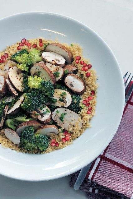 Mushrooms, Broccoli and Pomegranade Couscous