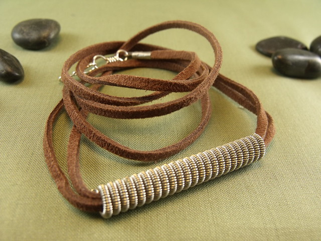 mens unisex coil bead guitar string necklace on suede flickr photo sharing. Black Bedroom Furniture Sets. Home Design Ideas