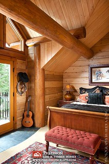 Second Story Bedroom | Custom Log Home | PrecisionCraft Log Homes