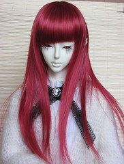 hime cut, hairstyle, brown, clothing, red, hair, long hair, hair coloring, costume, wig,