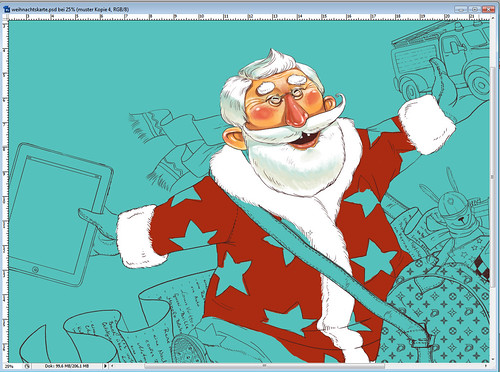 Christmas card, process
