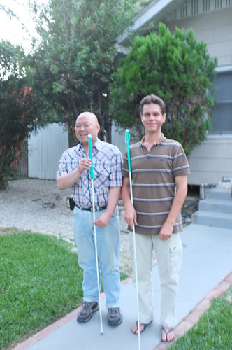 Daniel and Me Outisde the House with New Long Cane