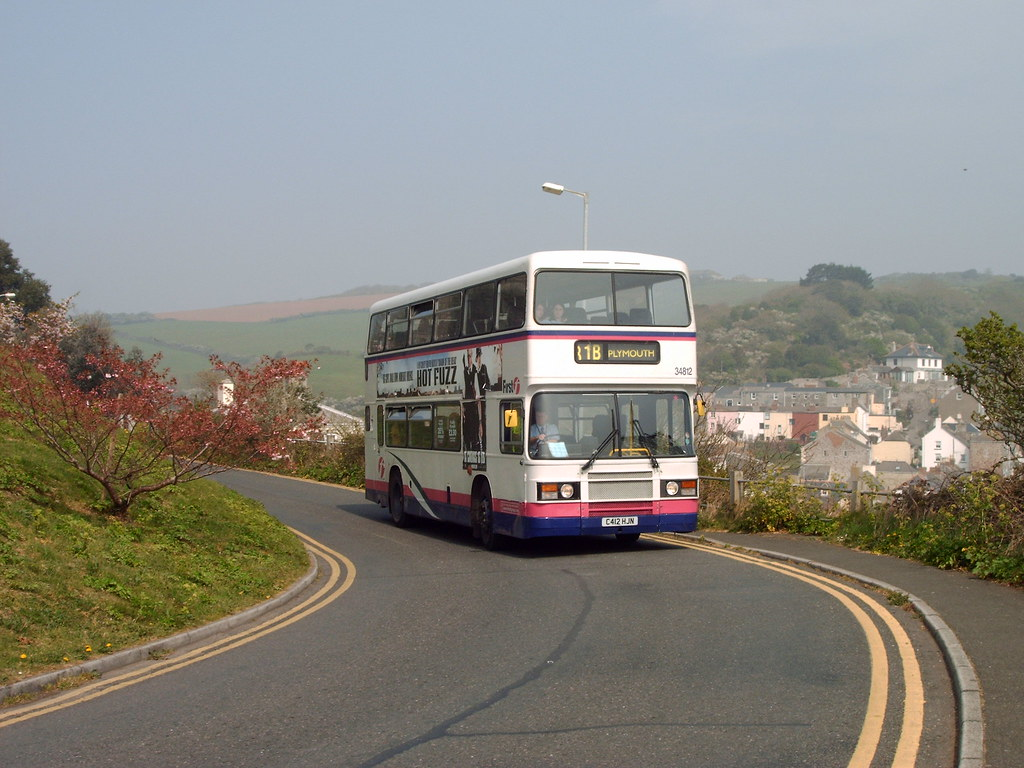 First Devon and Cornwall Leyland Olympian C412 HJN is seen in Cawsand