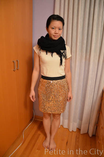 Joe Fresh Embellished Sequin Skirt Gold