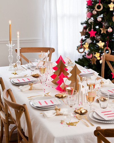 table de Noël rose