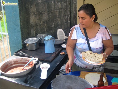Baleada Cooking at a Local Eatery Honduras