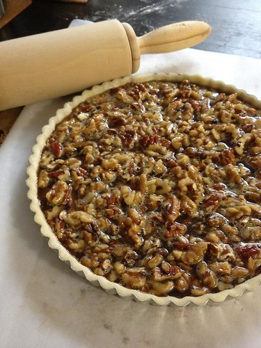 Maple Nut Tart ready to go into the oven.