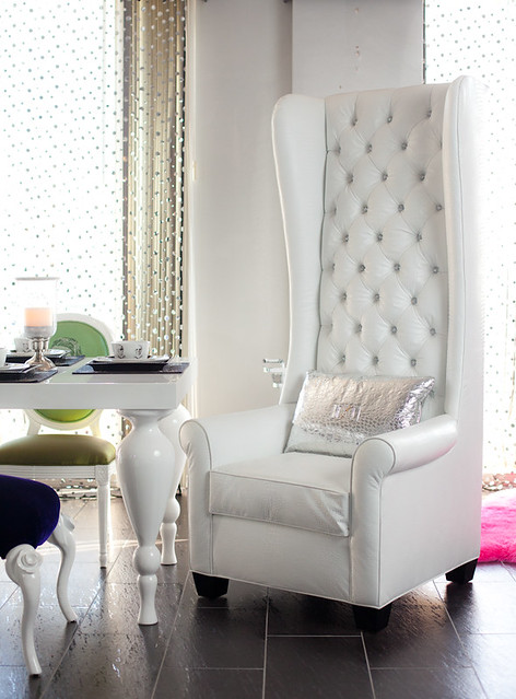 4186 Tall Wingback Chair Upholstered In White Croco And