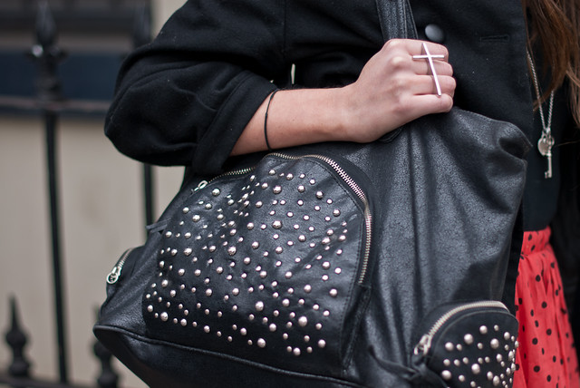 Photo:Black studs leather bag By Meet Tyrone