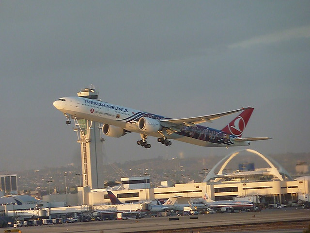 Turkish Airlines Boeing 777 Special Livery jet seconds after takeoff at LAX Airport