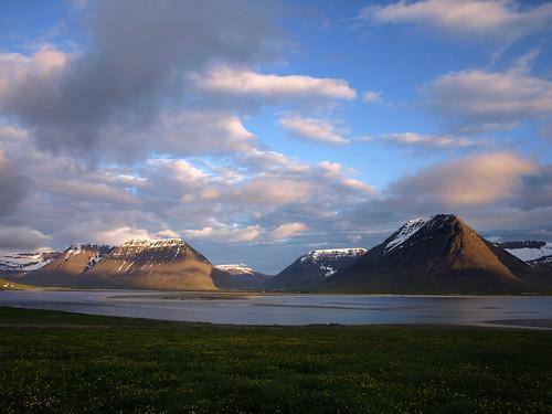 sea sky snow mountains clouds landscape fjord vestfirðir westfjords önundarfjörður