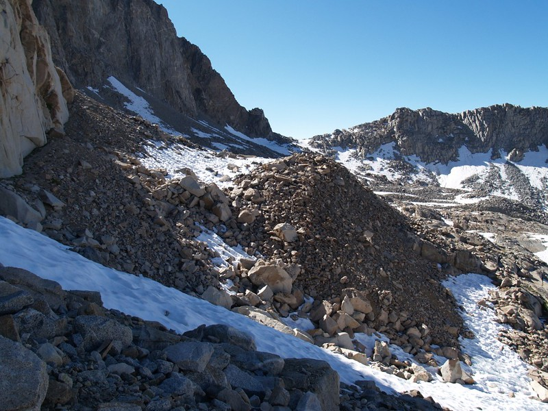 Lots of talus on the high slope as we struggle to approach Thunderbolt Pass