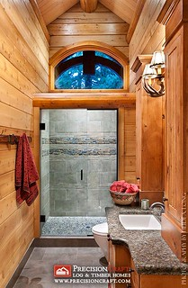 A View of the Bathroom | Log Home | PrecisionCraft Log Homes