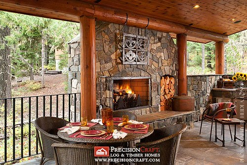 Custom Outdoor Space | Milled Log Home | PrecisionCraft Log Homes