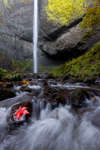 longexposure autumn red green leaf waterfalls lichen columbiarivergorge autumncolor latourellfalls