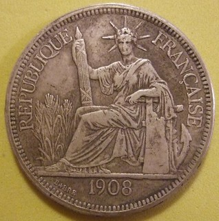 FRENCH INDOCHINA 1908 ---PIASTRE SILVER DOLLAR SIZED COIN a