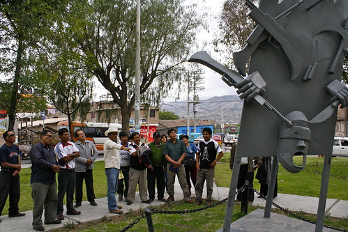 Relatives visit a memorial in Ayacucho