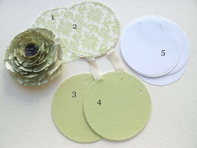 ! Pieces for round notepad_stitched circles of printed digi on watercolor paper & smaller pages