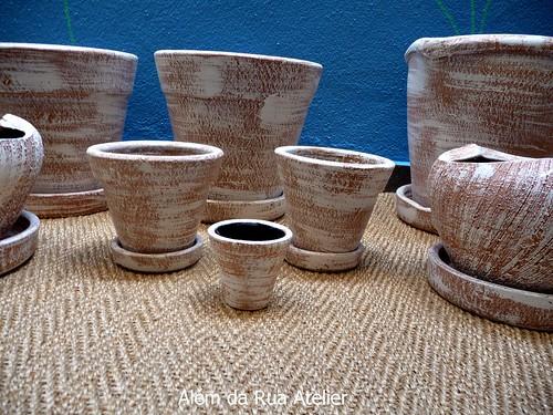 Vasos de cer mica pintados m o p tina envelhecida for Tecnicas para esmaltar ceramica