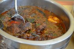 meatball(0.0), gravy(1.0), stew(1.0), curry(1.0), meat(1.0), produce(1.0), food(1.0), korma(1.0), dish(1.0), soup(1.0), cuisine(1.0), gumbo(1.0),