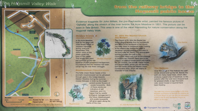 Hogsmill River walk guide board - near Malden Manor