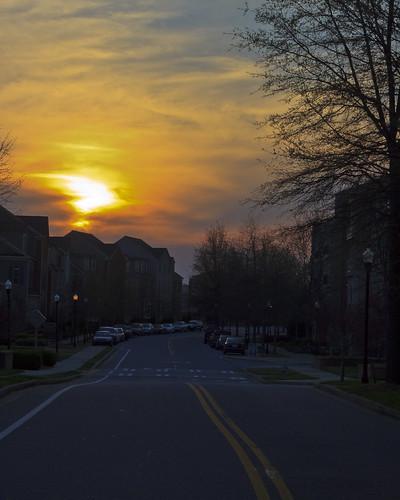 road street sunset sky sun building tree canon t1i