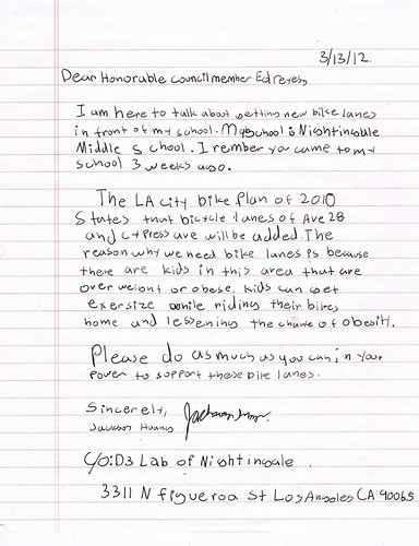 Letter to Councilman Ed Reyes from Nightingale student Jackson Huang